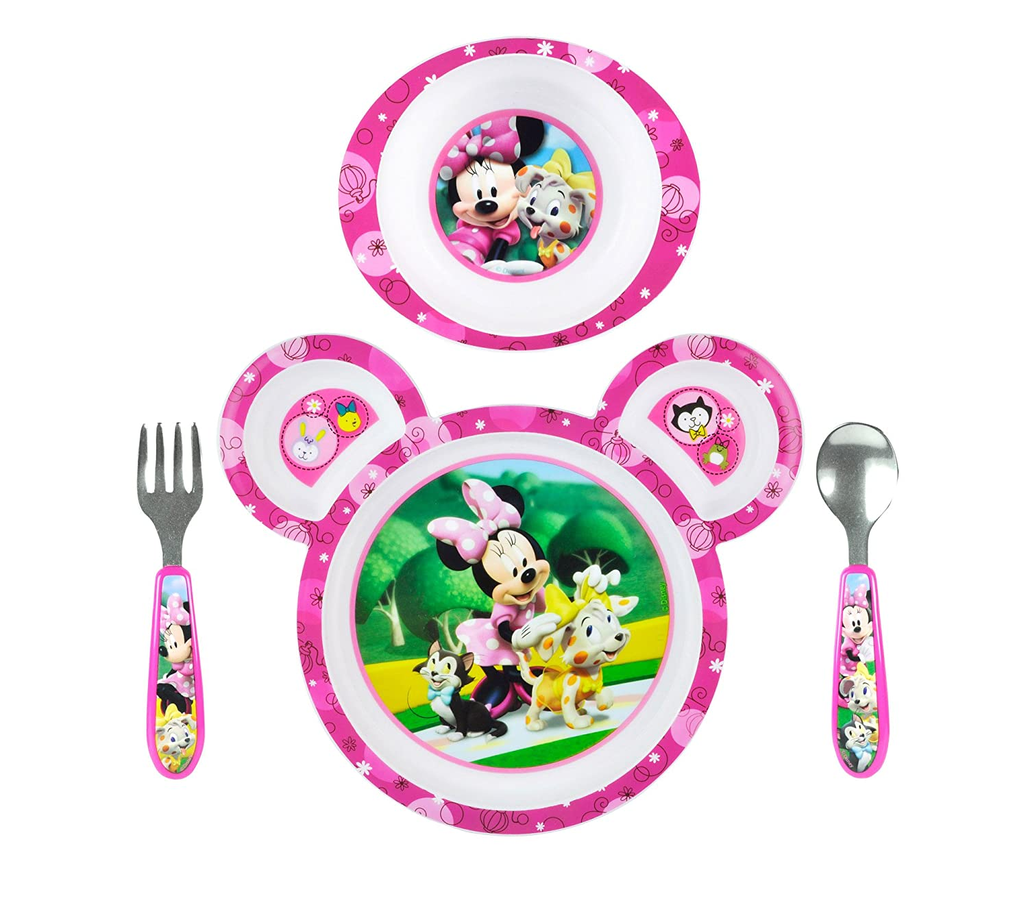 This four-piece set ...  sc 1 st  eBay & Minnie Mouse Feeding Set Baby Toddler Gift Girl 4 Pc Plate Bowl Fork ...