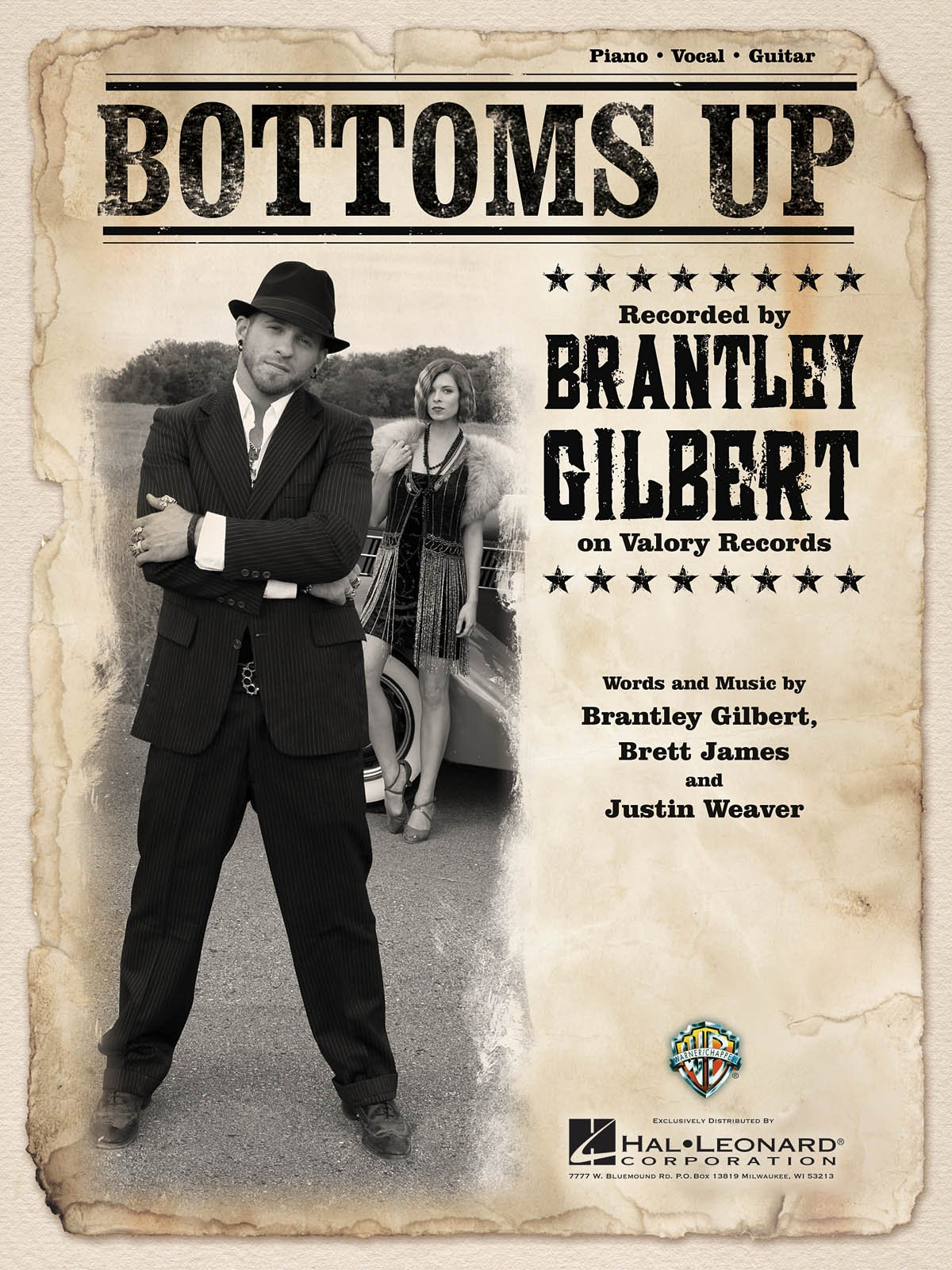Brantley Gilbert Bottoms Up Sheet Music Single 0888680006457