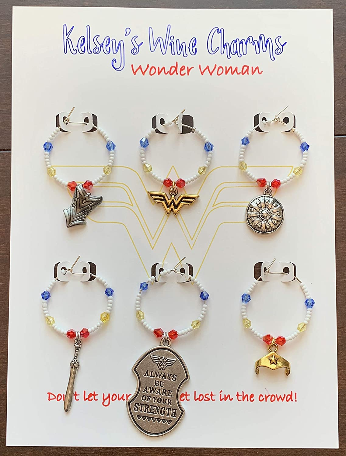 Wonder Woman Inspired Wine Glass Charms