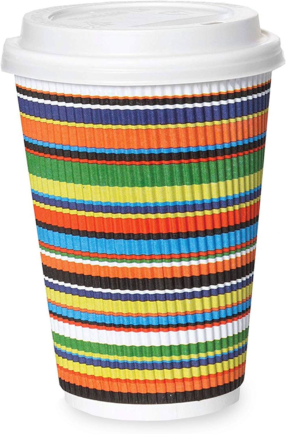 12 oz to Go Coffee Cups with Lids Disposable, Insulated & Recyclable Striped Multicolor Ripple Paper Coffee Cups, 50 Pack