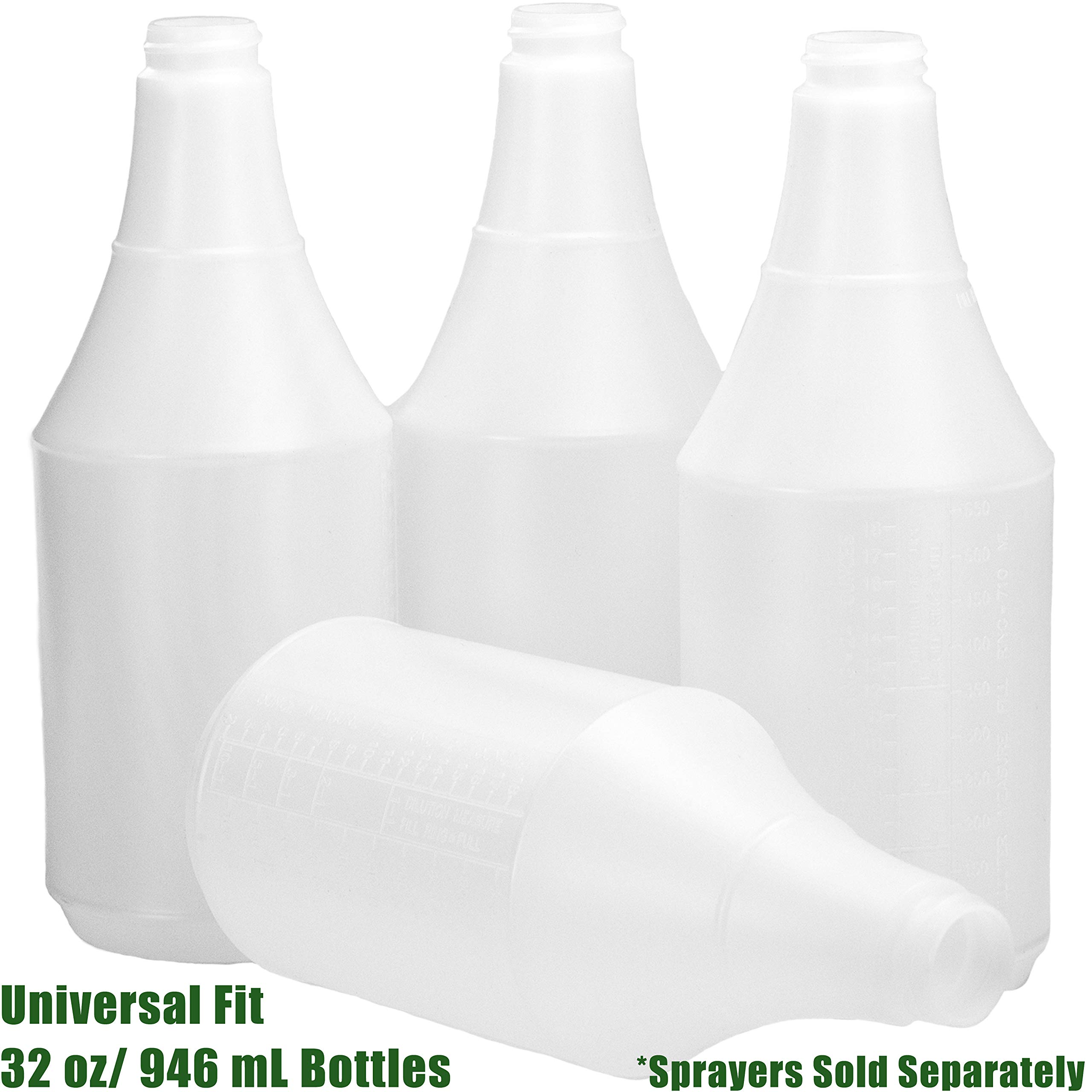 Mop Mob Commercial-Grade Chemical Resistant 32 oz Bottles ONLY 4 Pack Embossed Scale for Measuring. Pair with Industrial Spray Heads for Auto/Car Detailing, Janitorial Cleaning Supply or Lawn Care by Mop Mob