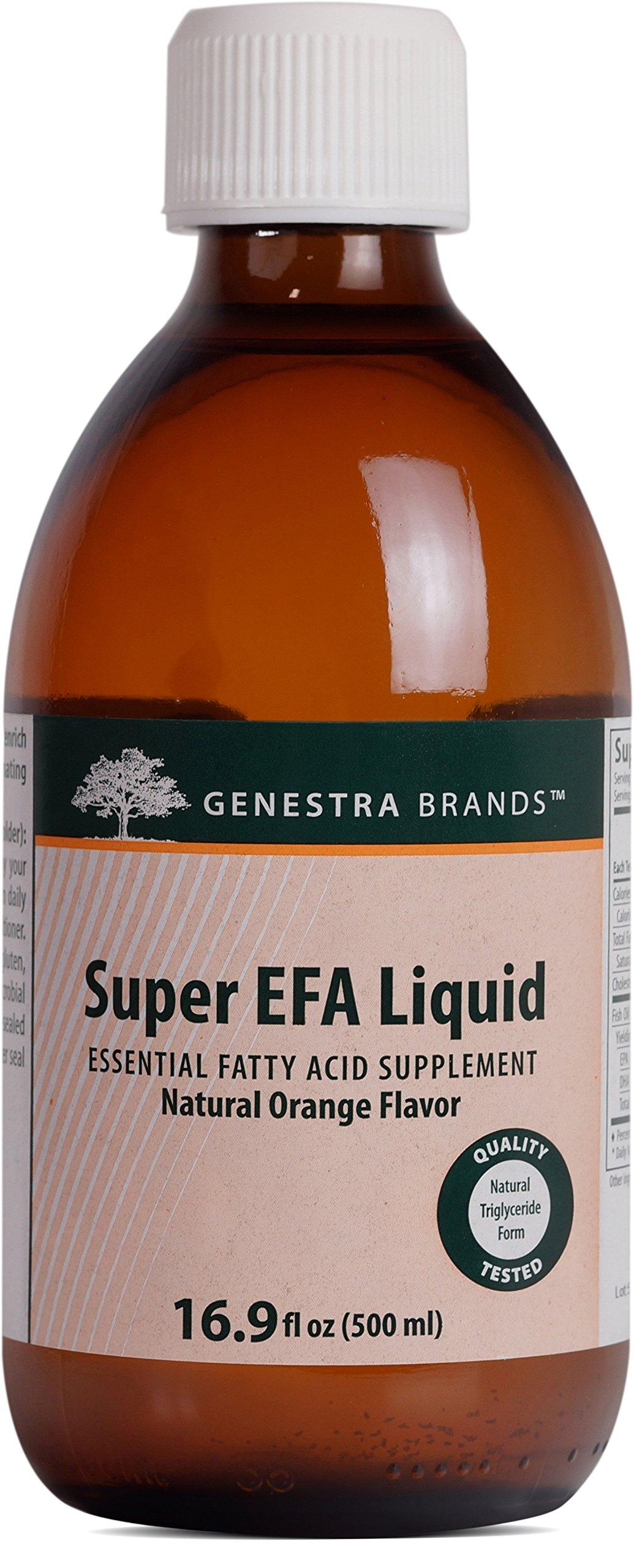 Genestra Brands - Super EFA Liquid - Supports Cardiovascular, Brain, Eyes, and Nerves* - Natural Orange Flavor - 16.9 fl oz (500 ml)