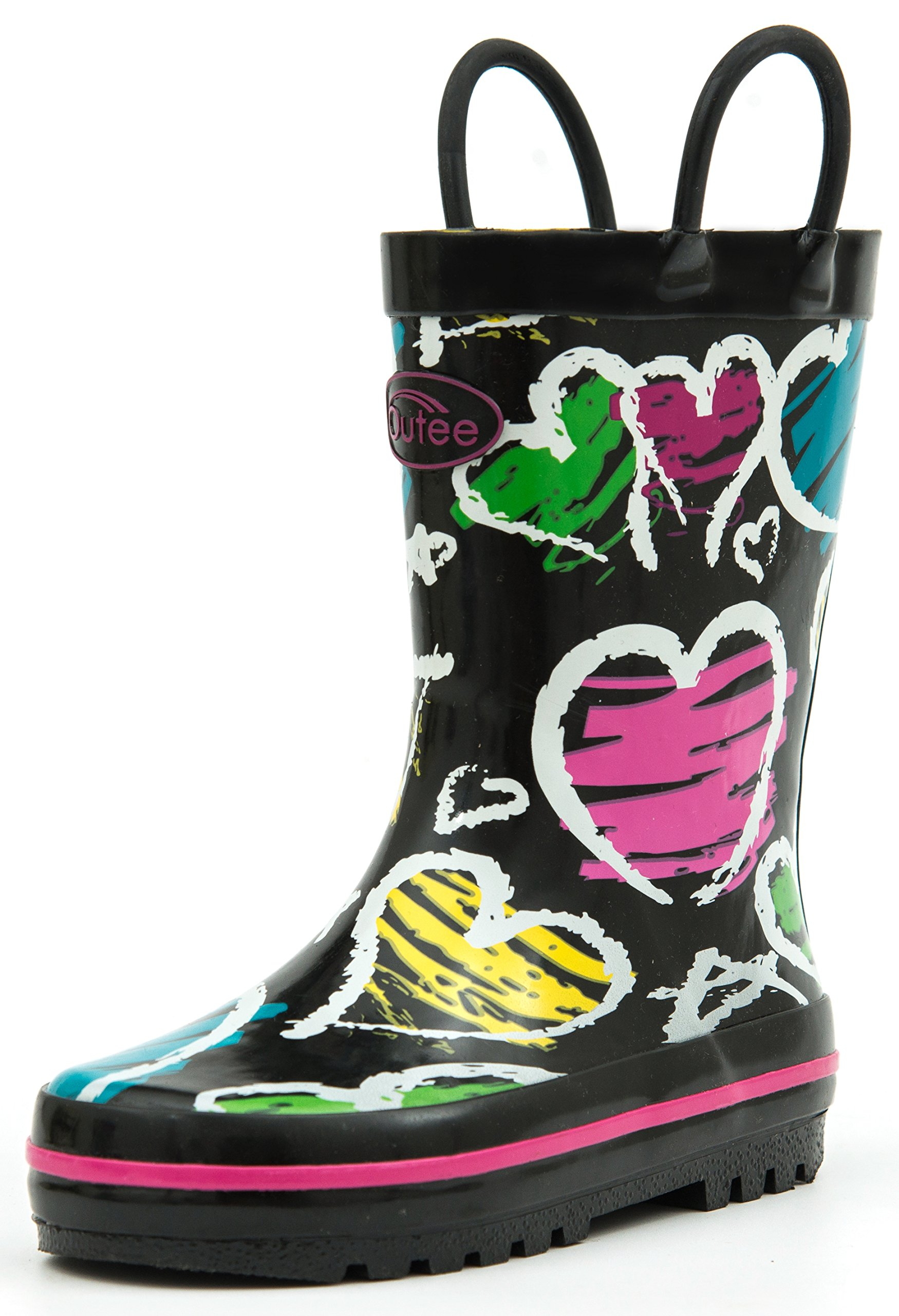 Outee Toddler Girls Kids Rain Boots Rubber Waterproof Shoes Printed Lovely Colorful Heart Cute Print with Easy On Handles (Size 6)