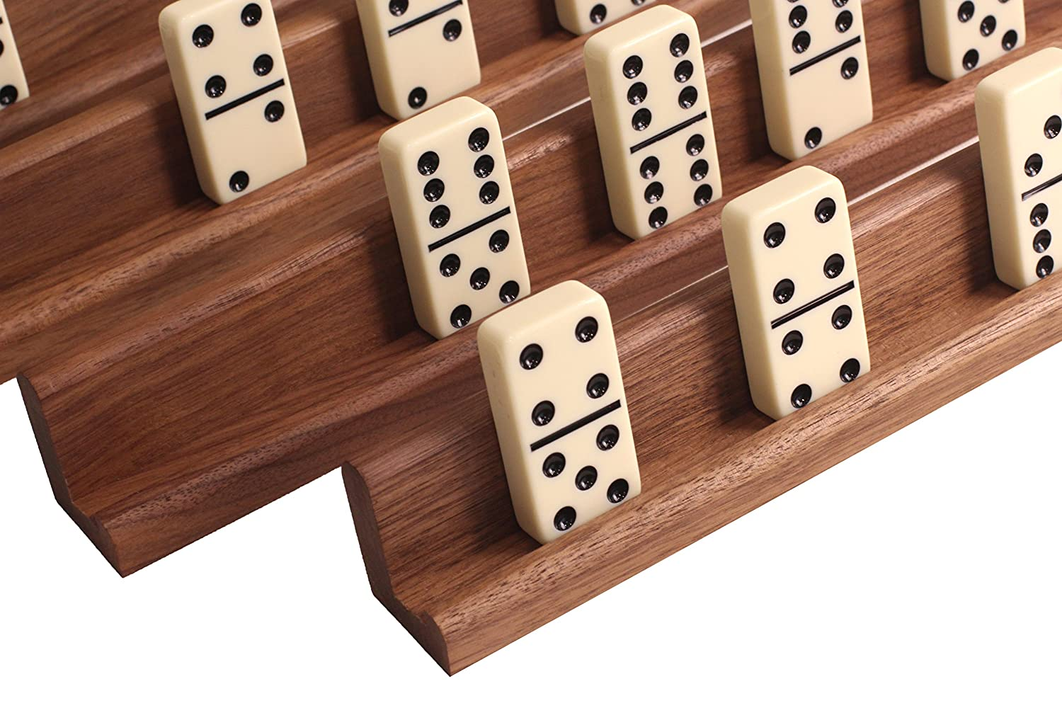Easy-View Domino Racks for Maximum Visibility and Ease in organizing Your Hand. Solid American Black Walnut