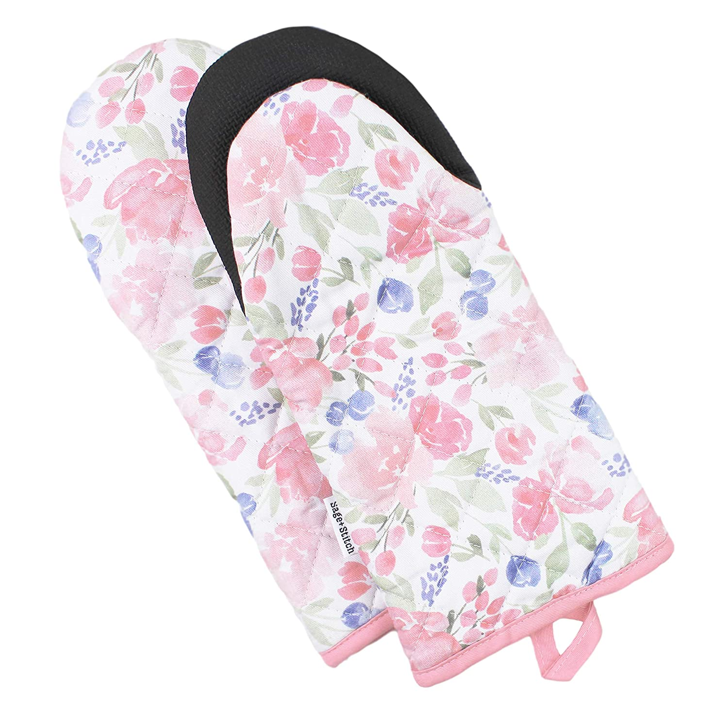 Sage and Stitch Kitchen Oven Mitts for Women 5.5'' x 12'' Non Slip Heat Resistant Neoprene Grip and Hanging Loop and Long Sleeves for Baking, Cooking, BBQ, 100% Cotton Set of 2 - Pink Floral