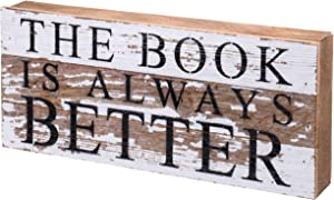 """Second Nature By Hand Book is Always Better - Reclaimed Pallet Wood Wall Art, Handcrafted Decorative Plaque, 14"""" x 6"""""""