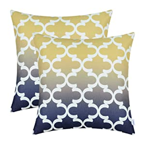 CaliTime Pack of 2 Canvas Throw Pillow Covers Cases for Couch Sofa Home Decor Modern Gradient Quatrefoil Accent Geometric 18 X 18 Inches Yellow to Navy Blue