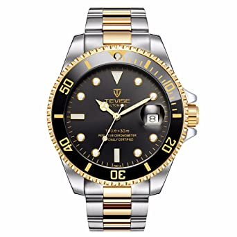 Swiss Luminous Submariner Watch Mens Mechanical Watch Fashion Steel Waterproof Watch (Gold - Black)