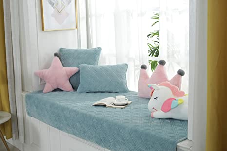 Blue Sincere Custom Size Short-Plush Thickened Bay Window Seat Cushions//Pads//Mat Indoor Non-Slip Sofa//Tatami Slipcover Float//Balcony Window Sill//Bench Rug Pads