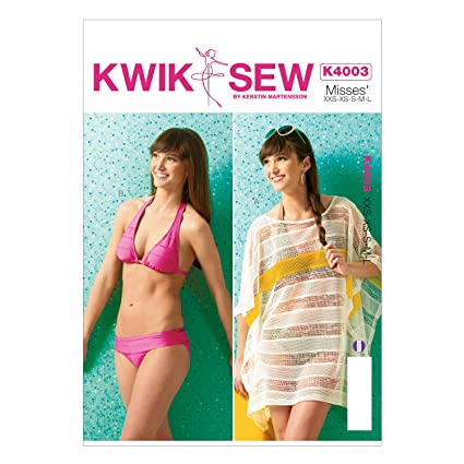 Amazon.com: KWIK-SEW PATTERNS K4003OSZ Misses\' Cover-Up and Swimsuit ...