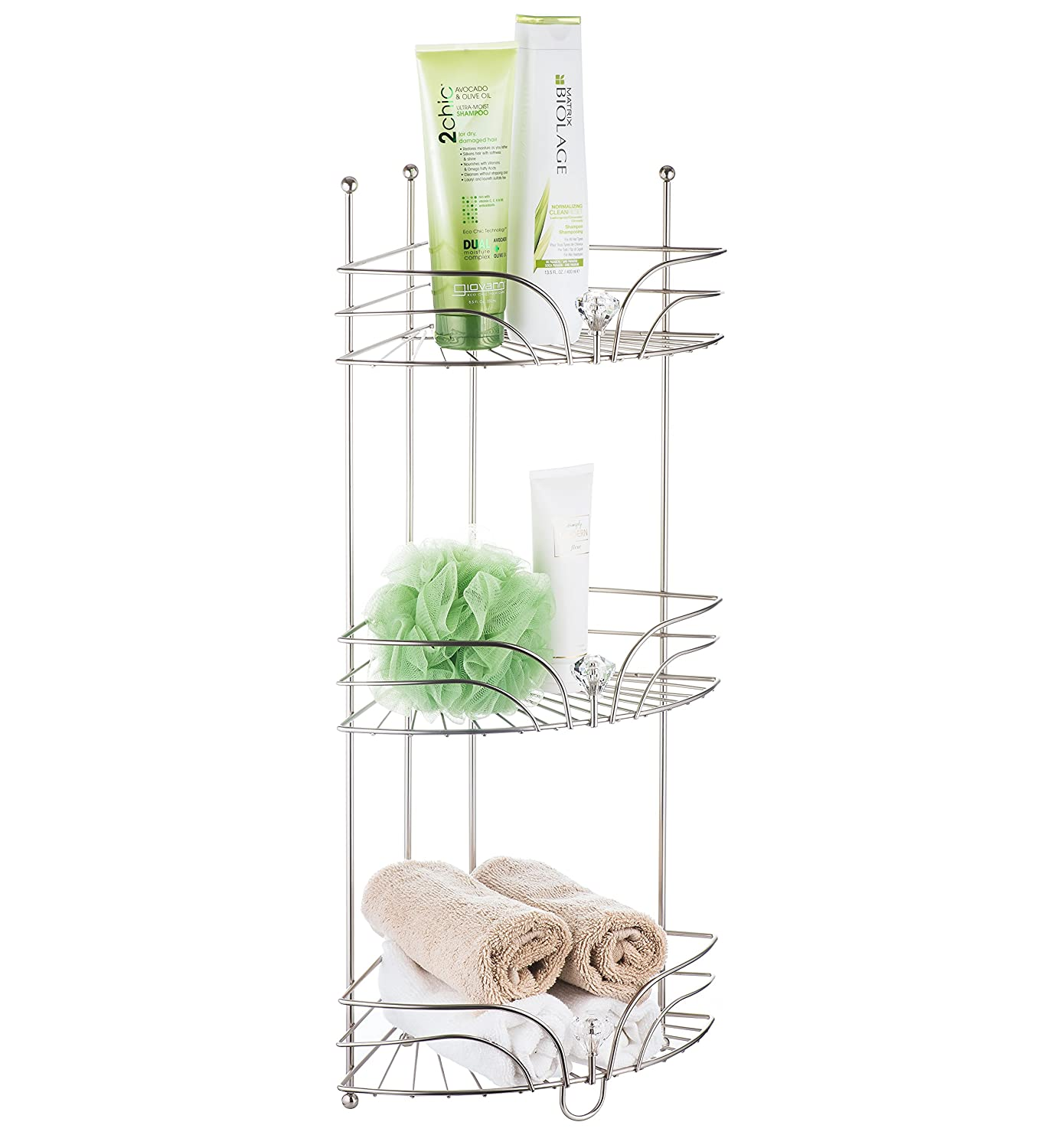 AMG and Enchante Accessories Free Standing Bathroom Spa Tower Floor Caddy, FC231-A SNI, Satin Nickel