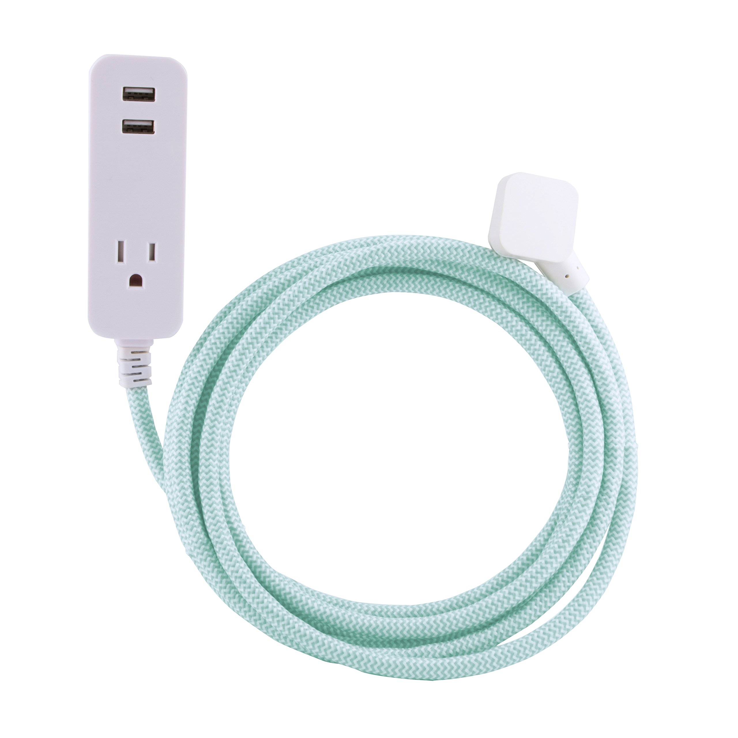 Cordinate Designer 1-Outlet 2-USB Charging Extension Cord with Surge Protection, Mint Braided Décor Fabric Cord, 10 ft, 2.4A USB Charging Ports, with Tamper Resistant Safety Outlets, 37918