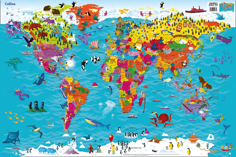 Tomtom Australia Map 915.Collins Children S World Wall Laminated Map Amazon Co Uk Collins