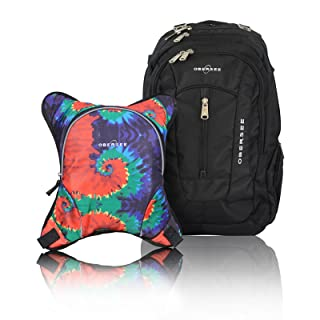 Bern Diaper Backpack, Shoulder Baby Bag, With Food Cooler, Clip to Stroller (Black/Tie Dye)
