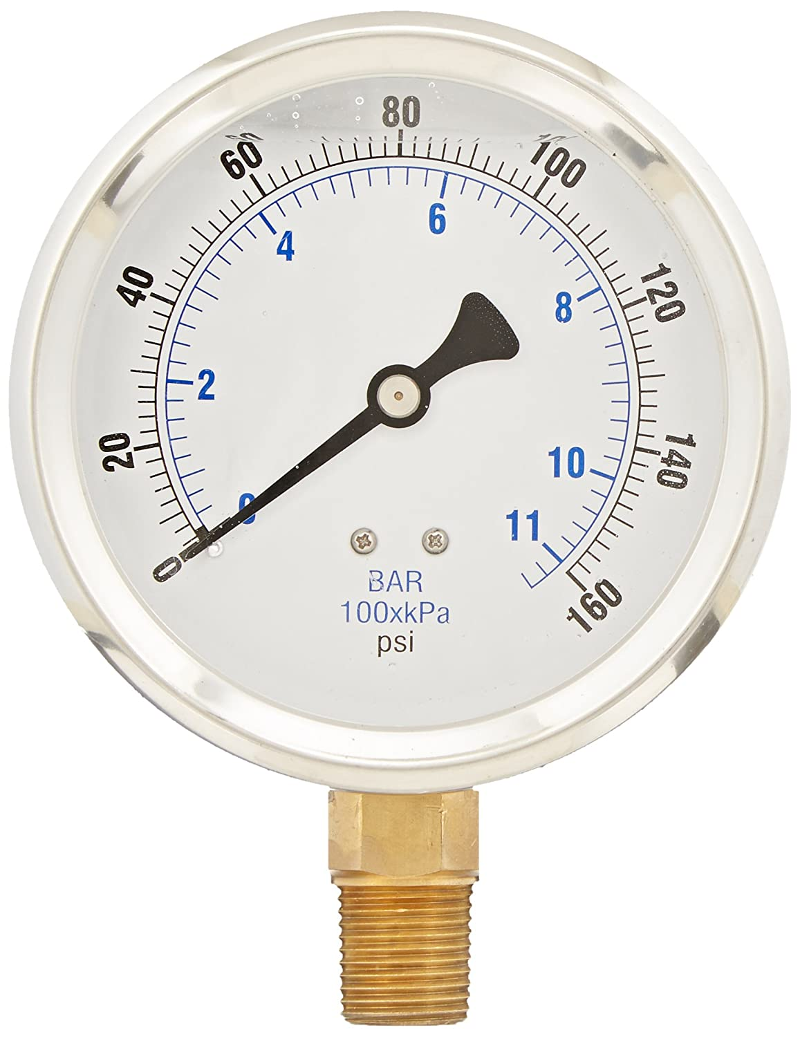 PIC Gauge 201L 402F 4 Dial 0 160 psi Range 1 2 Male NPT Connection Size Bottom Mount Glycerine Filled Pressure Gauge with a Stainless Steel Case Brass Internals Stainless Steel Bezel and Polycarbonate Lens