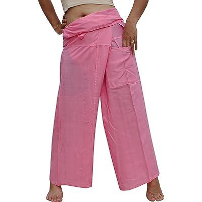 RaanPahMuang Brand Light Rayon Plain Thailand Fisherman Viscose Wrap Pants