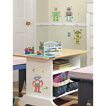 RoomMates Repositionable Childrens Wall Stickers Build A Robot