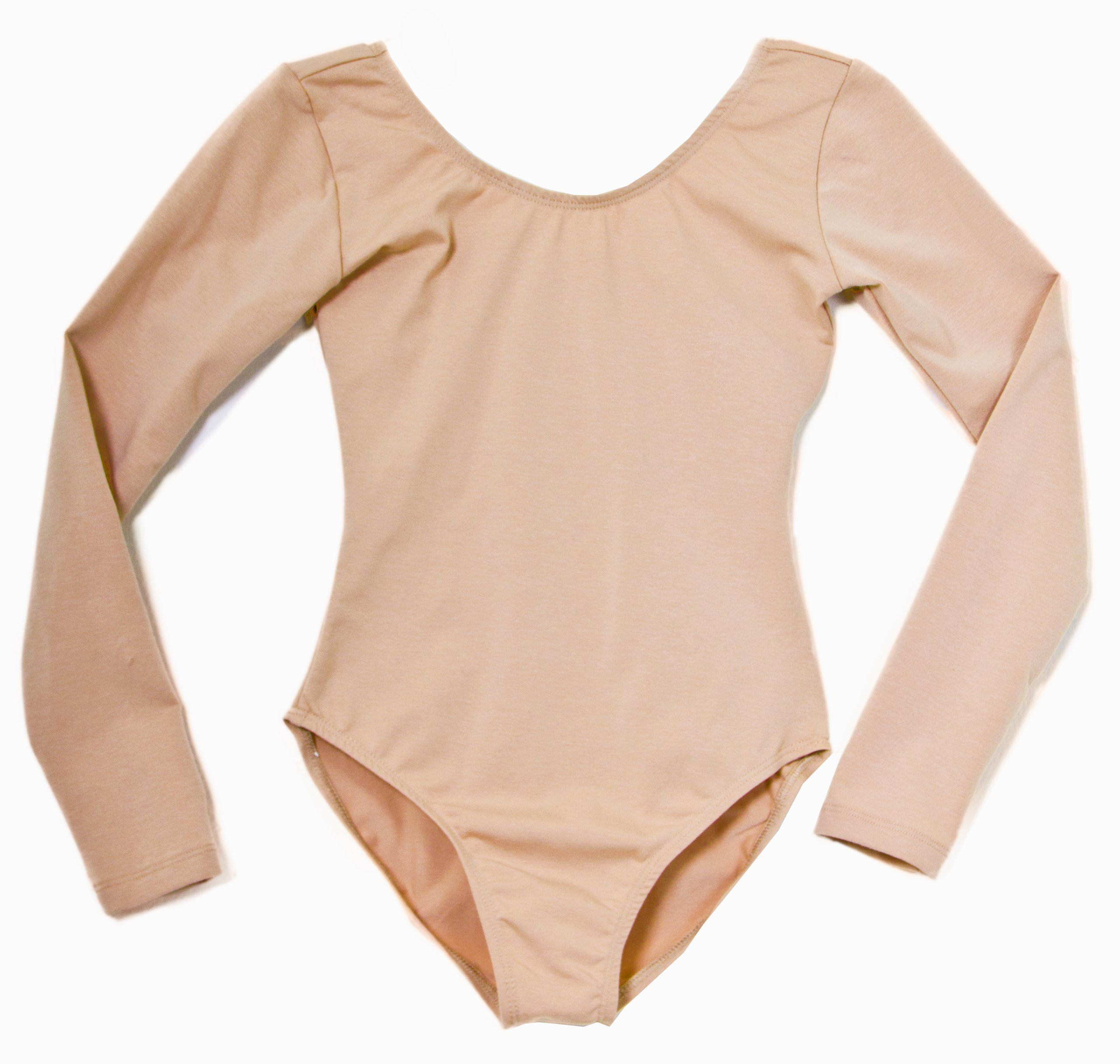 American Theater Dancewear Adult's Cotton Long Sleeve Leotard (Nude Medium) by American Theater Dancewear