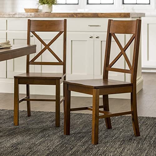 Walker Edison Furniture Solid Wood Farmhouse Dining Chairs X-Back Armless Kitchen Chair