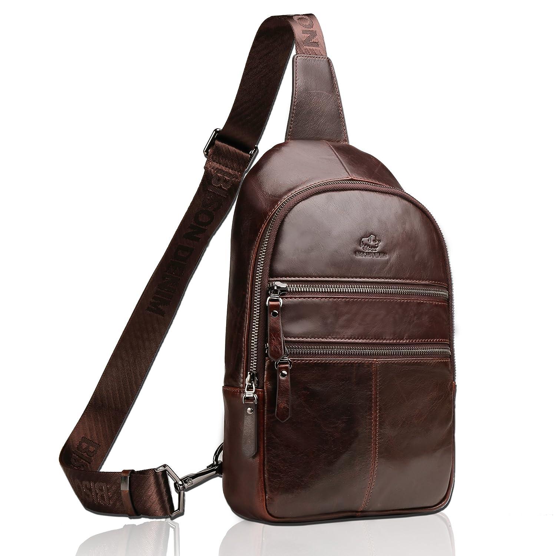 Amazon.com   BISON DENIM Genuine Leather Crossbody Sling Bag Mens ... 3b2771c01d5a5