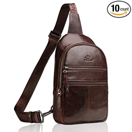 be9c8277c4 Image Unavailable. Image not available for. Color  BISON DENIM Genuine  Leather Crossbody Sling Bag Mens Chest Bag One Shoulder Bag Travel  Unbalance Backpack