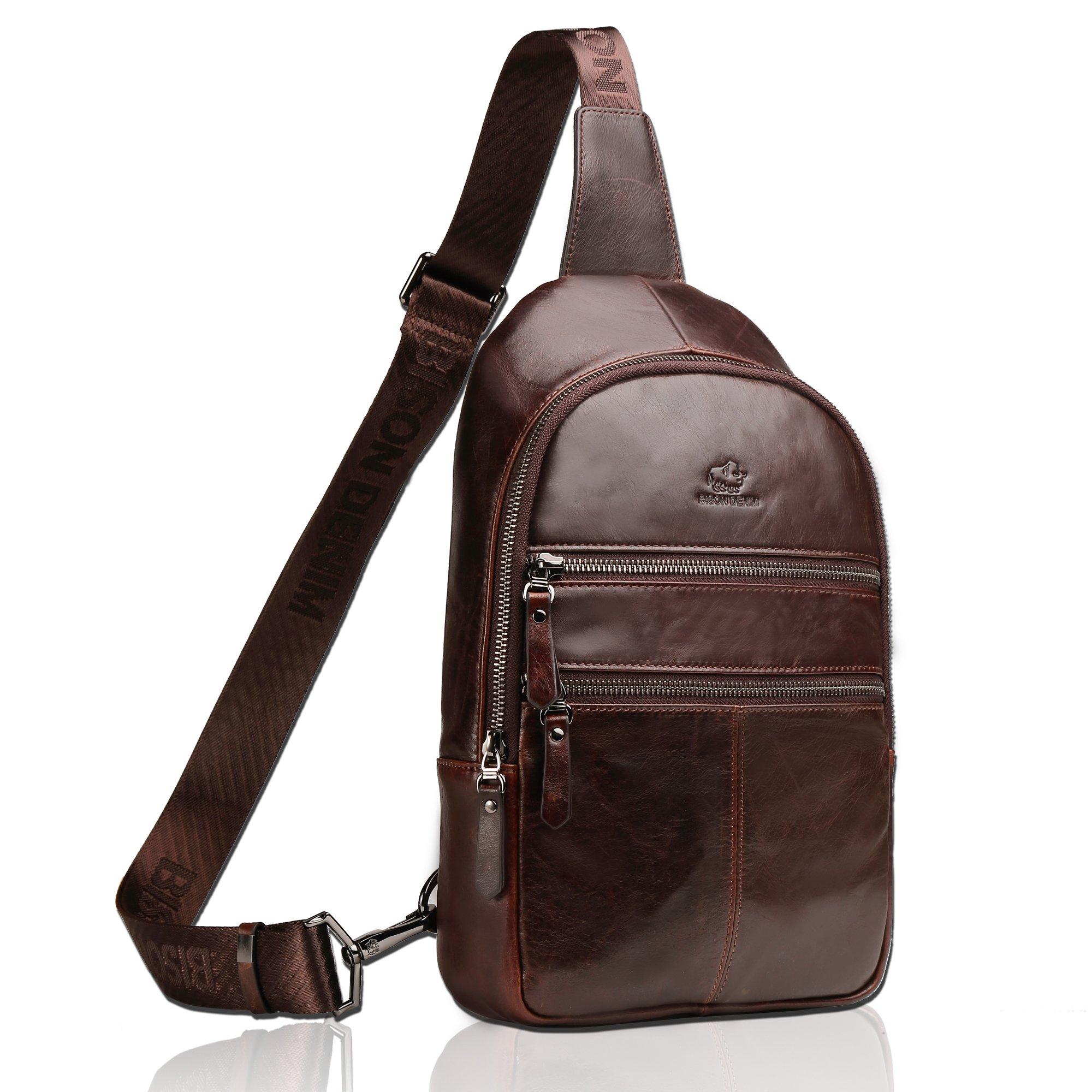 BISON DENIM Genuine Leather Crossbody Sling Bag Mens Chest Bag One Shoulder Bag Travel Unbalance Backpack