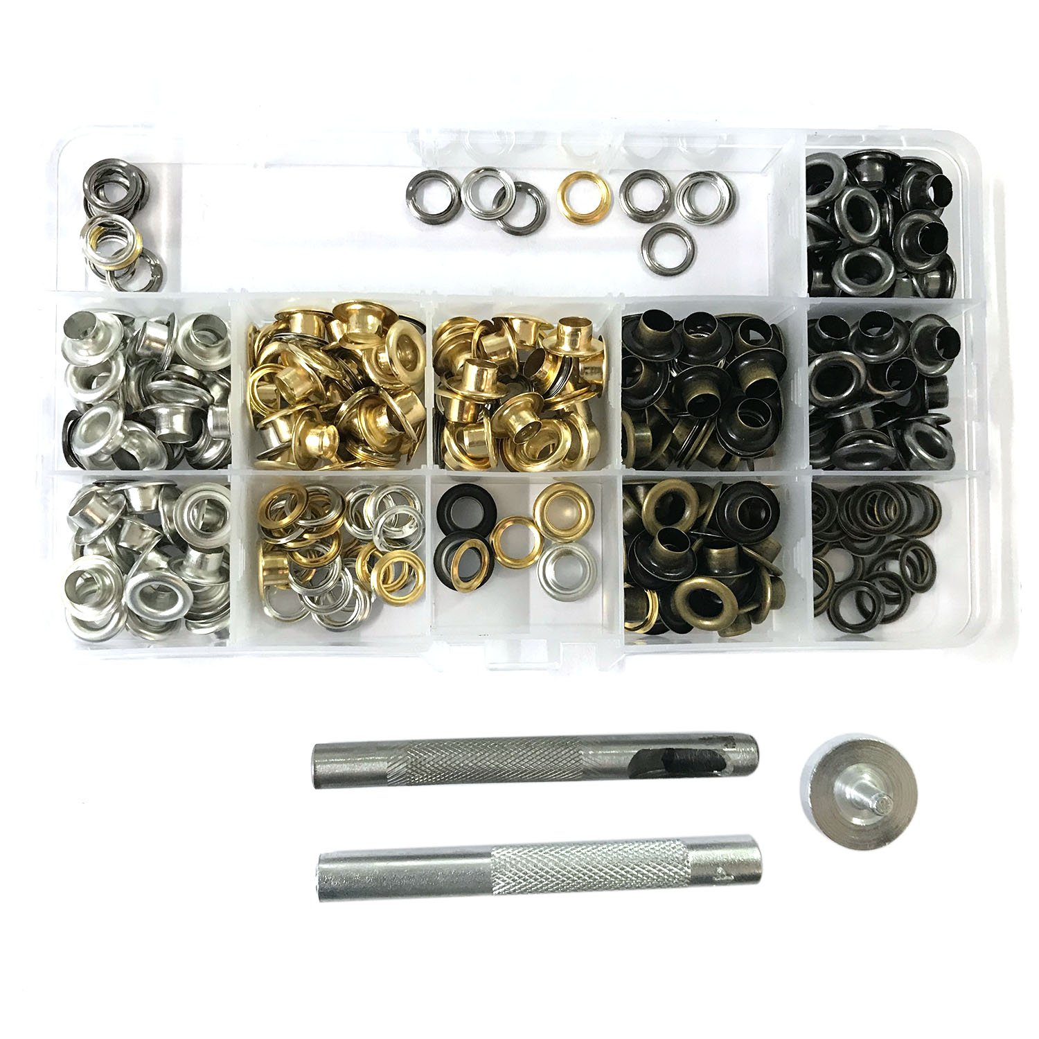 Trimming Shop Eyelets Grommet Kit 200 Pcs Of Gold, Silver, Bronze & Gunmetal, 5mm, With Set of 3 Fixing Tools for Clothes, Apparel, Leather, Canvas, Shoe, Self Backing, Home Use by