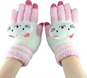 Cute Animal Magic Touch Screen Gloves, Women Kids Girls Boys Winter Warm Cozy Wool Knit Gloves Outdoor Cycling Thermal Windproof Touchscreen Texting Gloves Hand Warmer Mittens