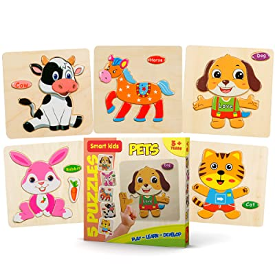 Smart Kids Service - Wooden Puzzles for Toddlers - 5 Pack - Baby Puzzles Age 3+ Toddlers Puzzles for Kids Boys and Girls - Pets Set - Cat - Dog - Horse - Rabbit - Cow - 48 pcs.: Toys & Games [5Bkhe0500498]