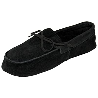 Men's Moccasins Rubber Sole, Cushioned Slightly House Slippers - Available in: Black/Brown/TAN (9, Black) | Slippers