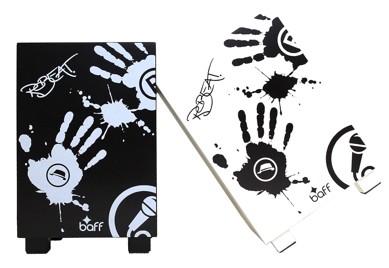 small foot 4352 BeatBox Trommelhocker aus wei/ß lackiertem Holz mit stylischem schwarzem Motiv