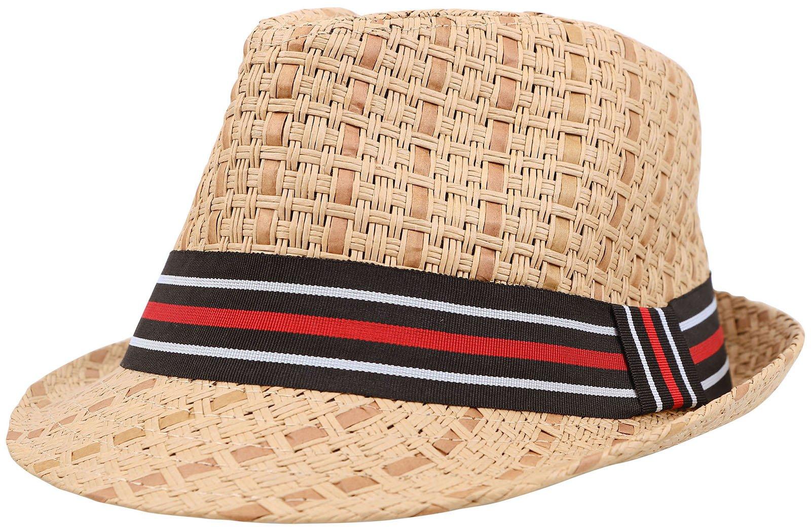 Straw Fedora Hat Men / Women's Summer Short Brim Cap w/ Striped Band, Brown S/M