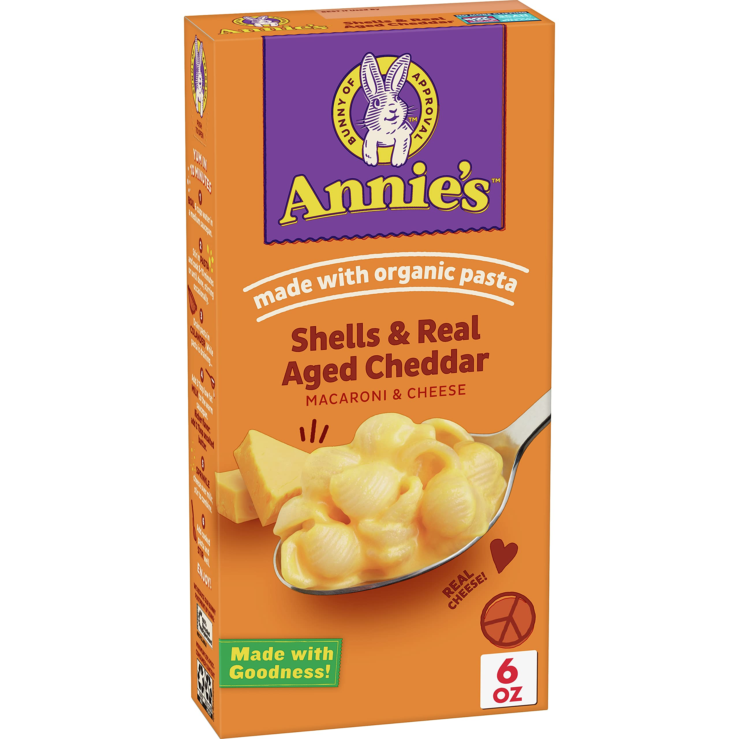 Annie's Shells & Aged Cheddar Macaroni and Cheese, Mac and Cheese, 6 oz