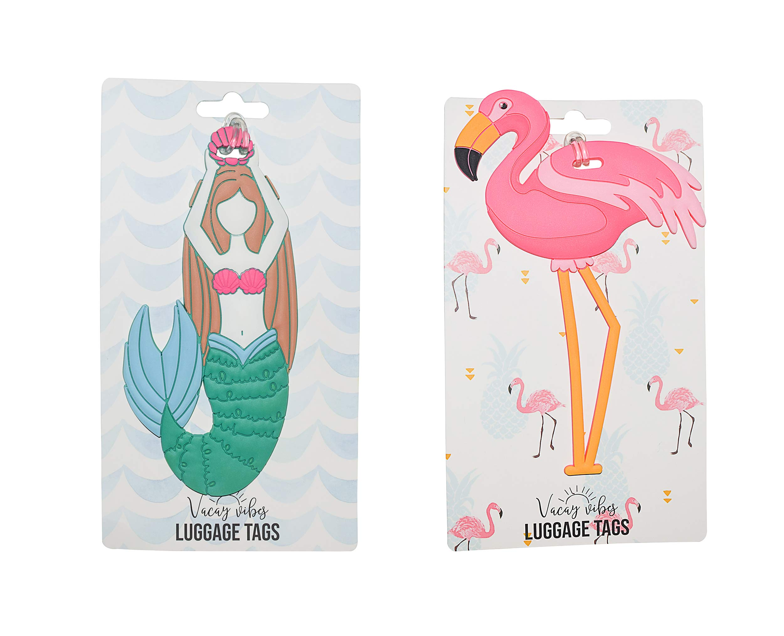Hang Accessories 2 PC Set Mermaid & Flamingo Tropical Vacation Silicone Luggage Tag Suitcase Identifier Bag Tag by Hang Accessories