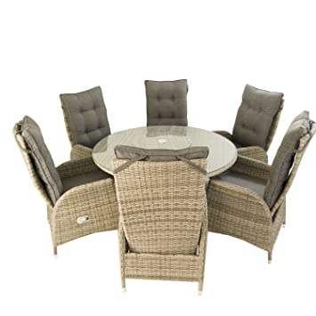 Conjunto muebles exterior | Mesa redonda 135 cm y 6 sillones ...