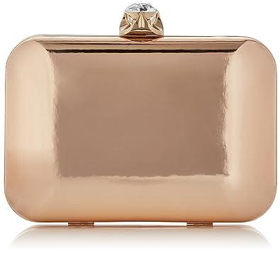 Swanky Swans - Ari Metallic Patent Box Clutch, Carteras de mano Mujer, Gold (