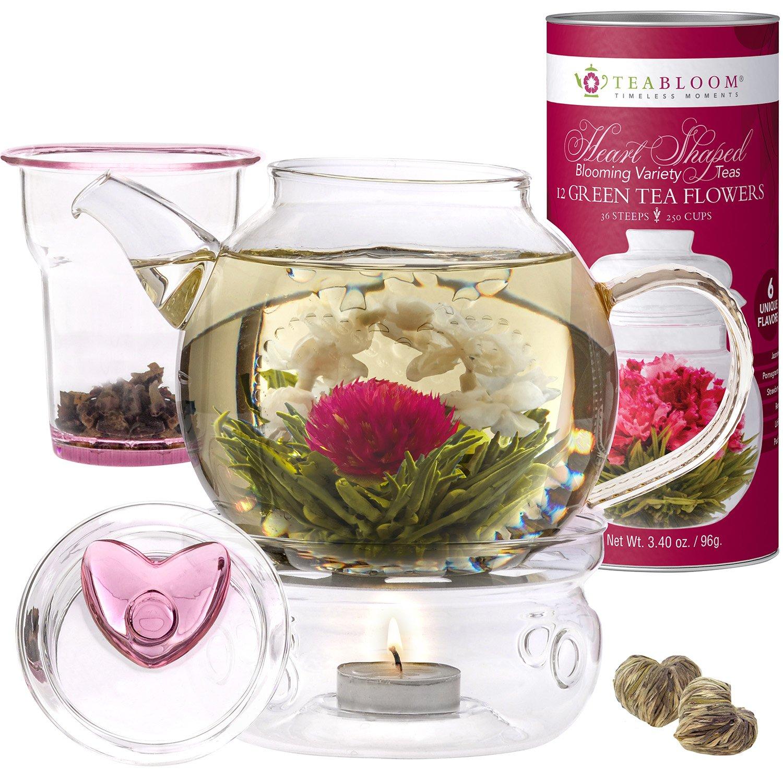 Teabloom Eternal Love Flowering Tea & Teapot Gift Set - 36 oz Glass Teapot, Heart-Topped Lid, Teapot Warmer, Glass Loose Leaf Tea Infuser & Canister of 12 Heart Shaped Blooming Teas