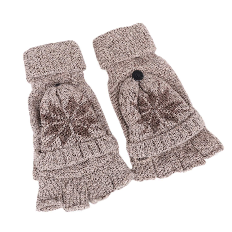 550a7f11a38e2f Accessoires Damen Herren Winter Warme Fingerlose Strickhandschuhe mit  Fäustlinge Klappe Halbfingerhandschuhe Strick Handschuhe mit Flip Top ...