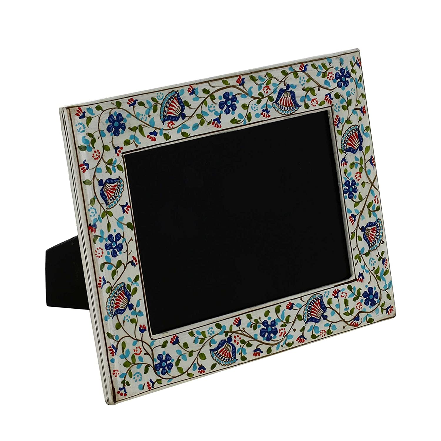 Photo Frames Paper Mache Kashmir White Floral Handmade Gifts Indian ShalinCraft MN-photo_frame_white