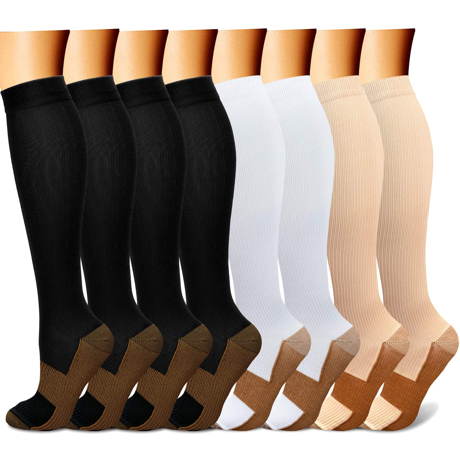 QUXIANG Copper Compression Socks for Women and Men - Best Medical Sports, Nursing, Running, Cycling, Athletic, Edema, Diabetic, Varicose Veins, Travel, Pregnancy & Maternity 15-20 mmHg (S/M, Multi 18)