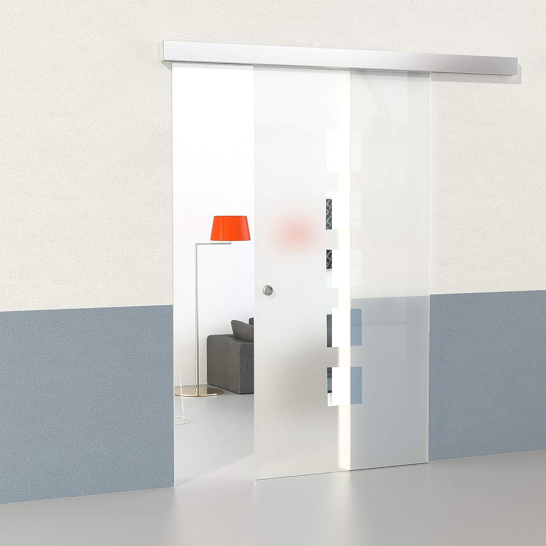 DURADOOR Schiebet/ür Set aus ESG Glas satiniert 2150 mm x 1050 mm x 8 mm Glasschiebet/üren Glast/üren Innent/üren