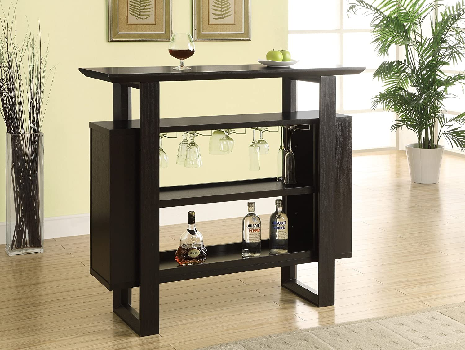 48-Inch Monarch Specialties Bar Unit with Bottle and Glass Storage Cappuccino