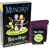 Munchkin Rick and Morty Game with Rick and Morty Playing Cards _ Bonus Purple Velveteen Drawstring Pouch _ Bundled Items