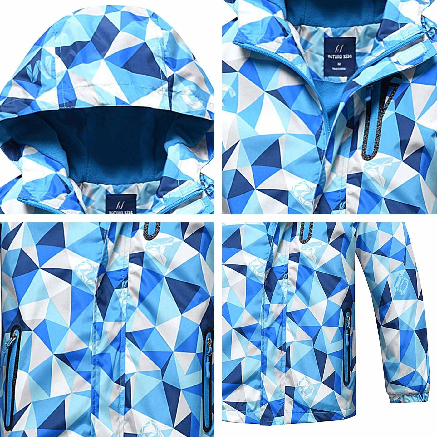 4-10Y HuTuHu Boys Girls Fleece Windbreaker Hooded Waterproof Jacket Outerwear