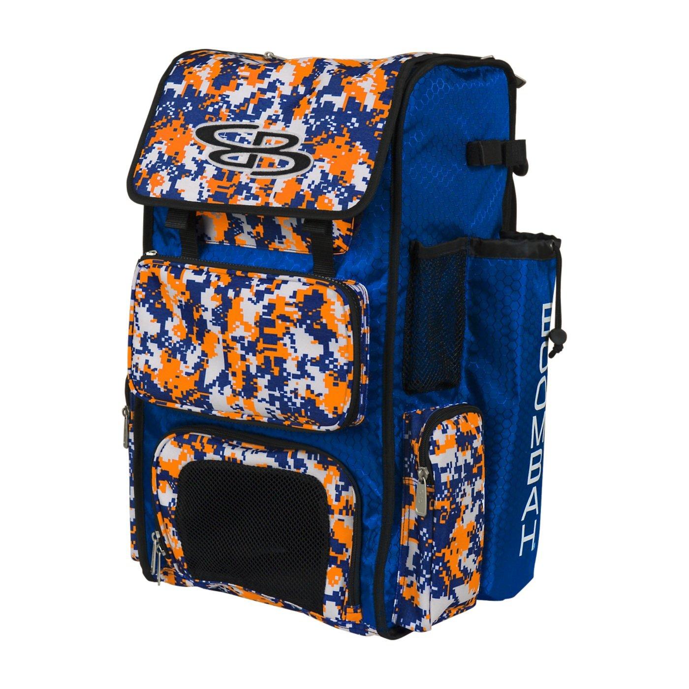 (ブームバー) Boombah スーパーパック バットパック – バックパックバージョン(車輪なし) – バット2本まで収納可 - 迷彩柄シリーズ - 20色のカラー展開 – 野球またはソフトボール用 B01NB9VGT5 Orange/Royal Orange/Royal
