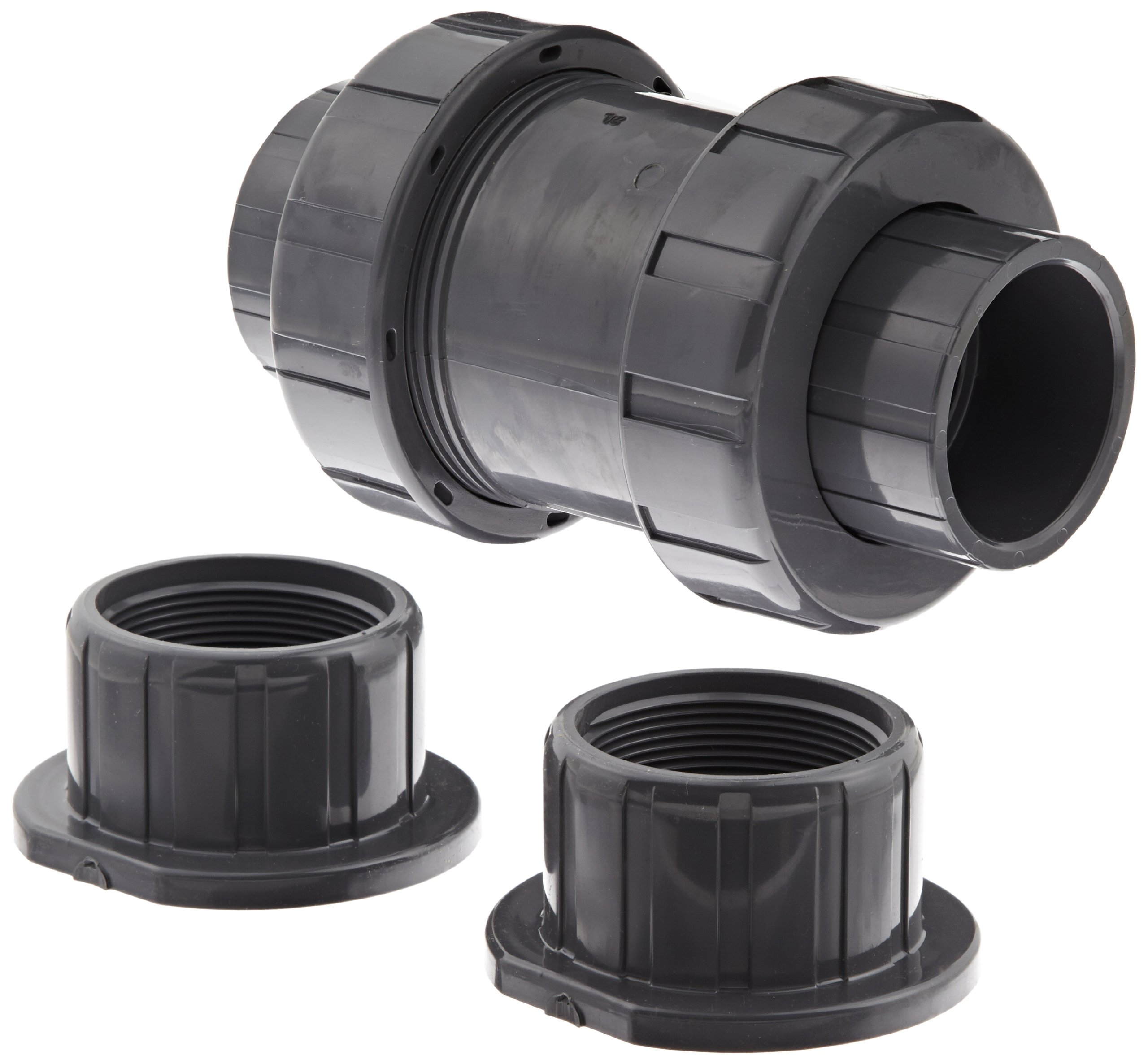 Hayward TC10200ST Series TC True Union Ball Check Valve, Socket/Threaded End, PVC with FPM Seals, 2'' Size