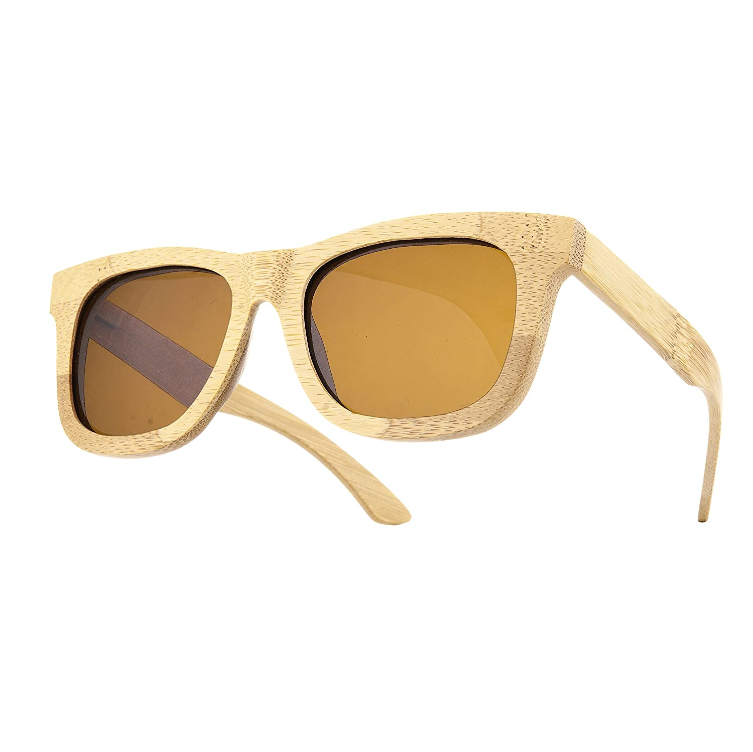 Bambusholz (Damen Heren) Retro Vinatge Holz Sonnenbrille Brille SUNGLASSES UV400 Protection (light Bambus)