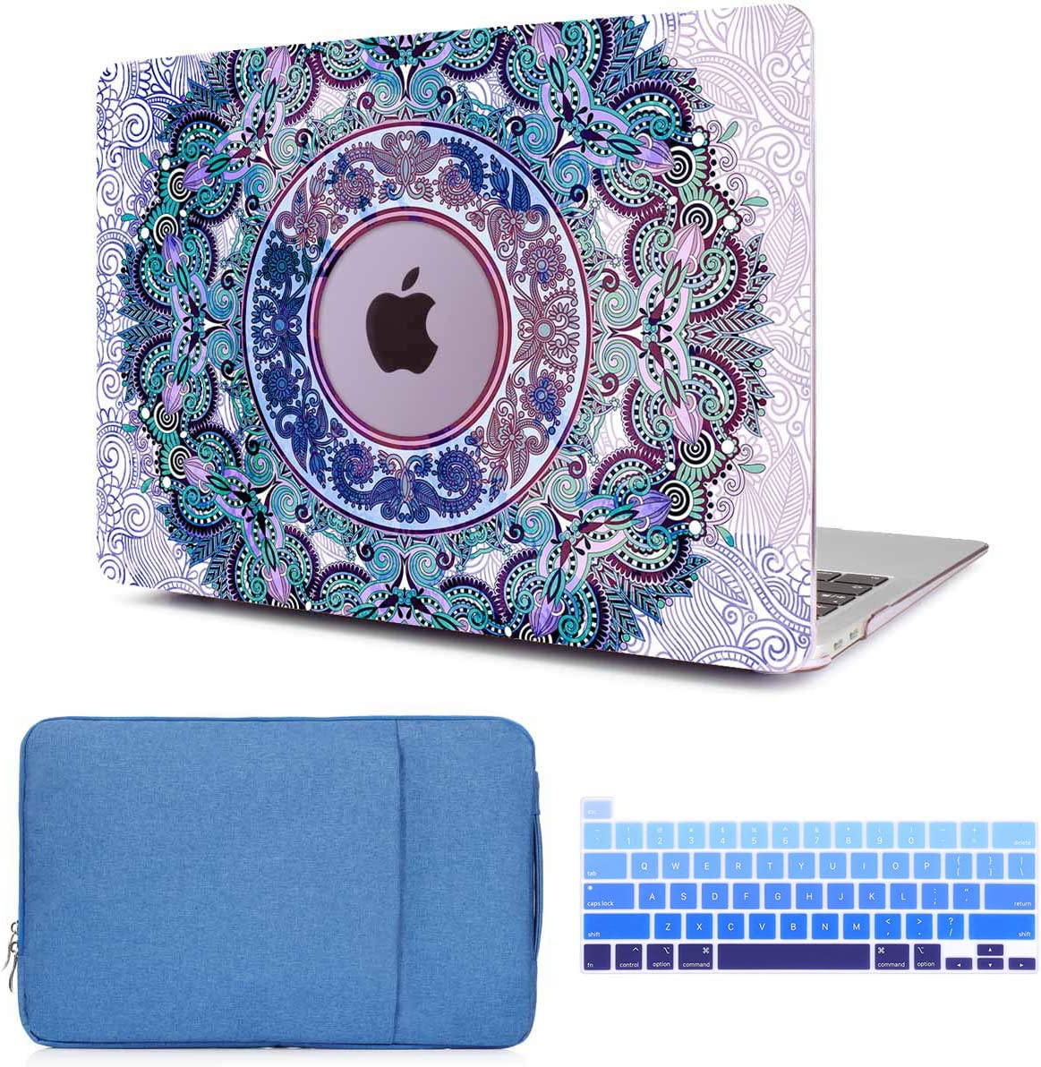 CiSoo MacBook Pro 15 Inch Case 2019 2018 2017 2016 Mandala Laptop Hard Shell Case for Model Number A1707/A1990,Keyboard Cover, Sleeve,Protective Bag,Compatible with MacBook Pro 15'' with Touch Bar