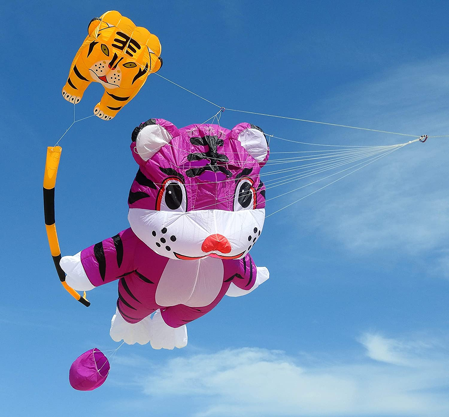 Soft Nylon Material Parafoil Kites 244/×39 inch Kite Easy to Fly with 195ft Kite Braided String and Backpack Perfect 3D Kite for The Beach. Fullfar Lion Large Kite for Adults