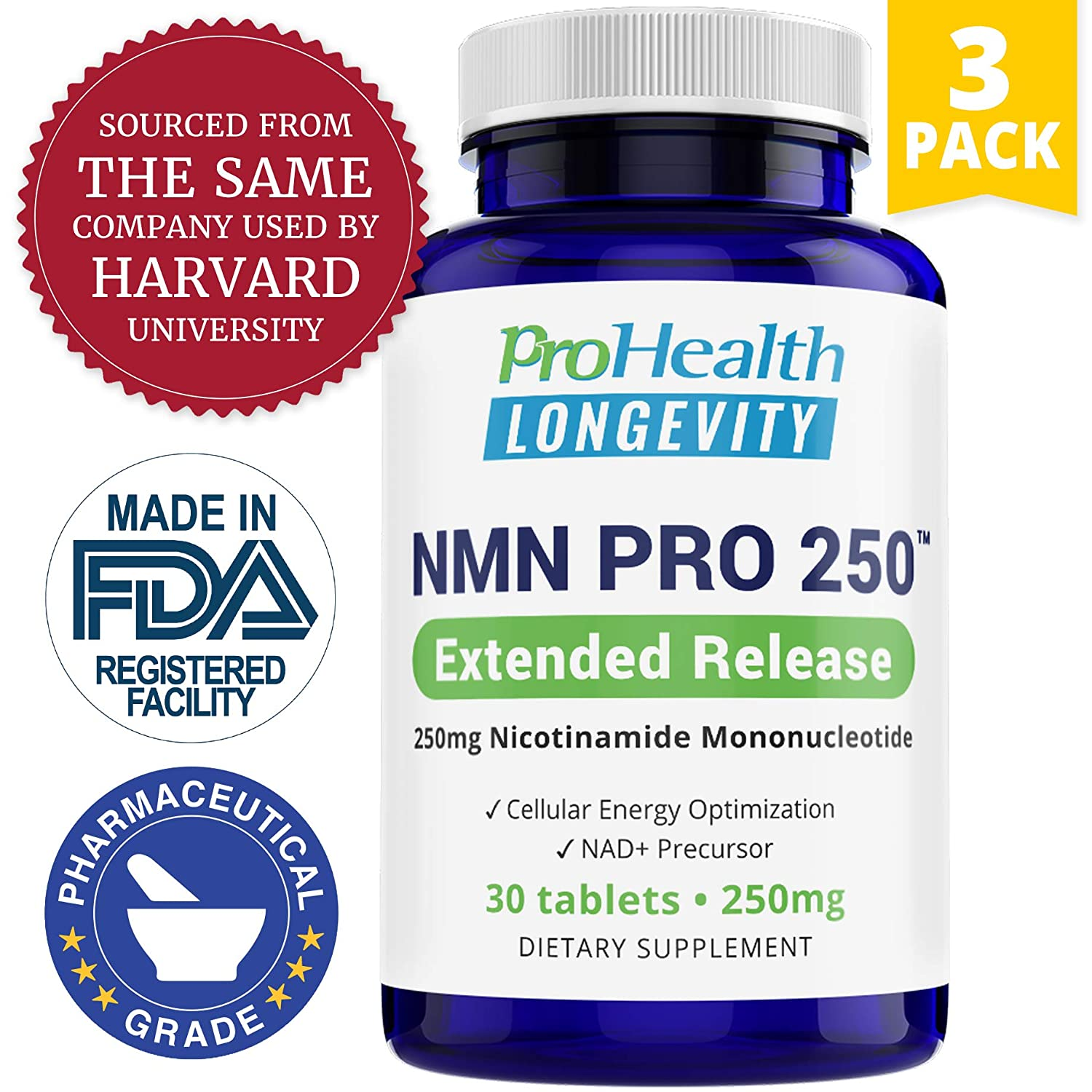 ProHealth 3-Pack NMN Pro 250 Extended Release 250 mg nicotinamide mononucleotide, 30 Tablets per Bottle NAD Precursor Supports Anti-Aging, Longevity and Energy Non-GMO